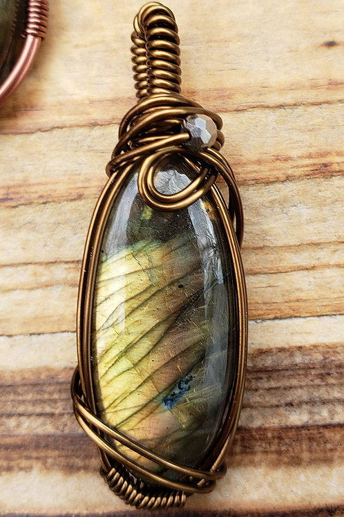 Golden Green Labradorite Wire Wrapped Pendant