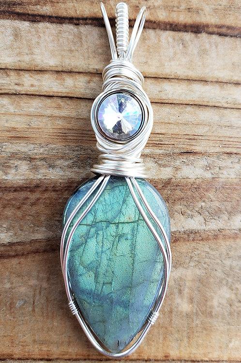 Aqua Labradorite Wire Wrapped Pendant
