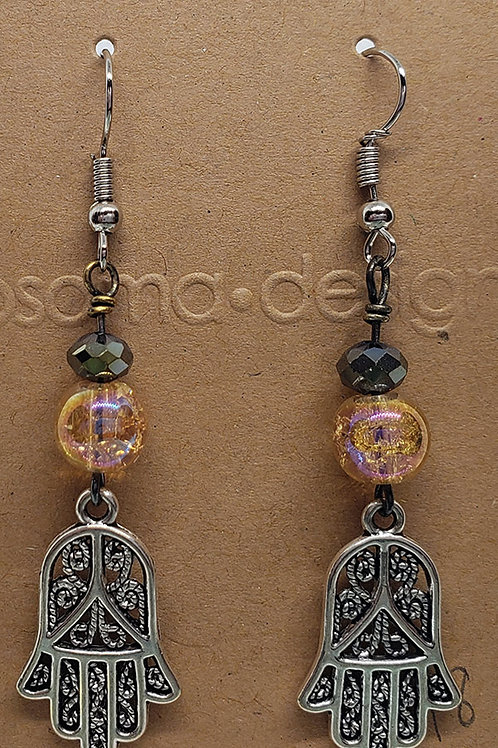 Hamsa Crackled Glass Earrings
