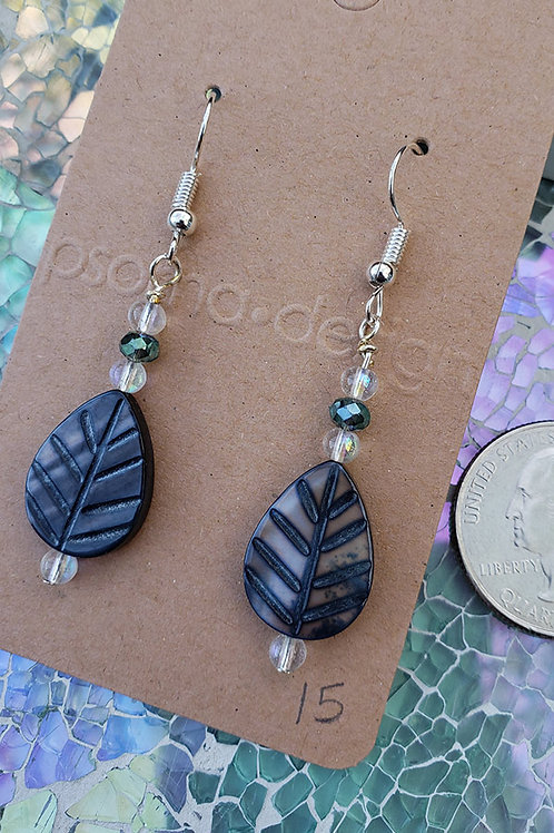 Iridescent Carved Leaf Dangle Earrings