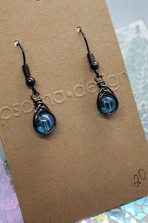 Aqua Glass Wire Wrapped Earrings