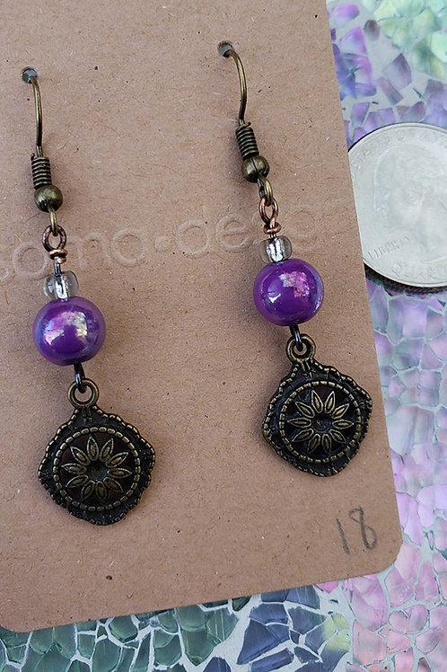 Purple and Brass Charm Dangle Earrings