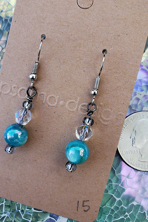 Aqua Shell Bead Earrings