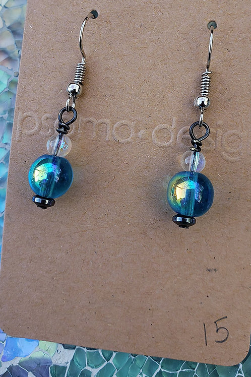 Iridescent Aqua Green Dragon Bead Earrings
