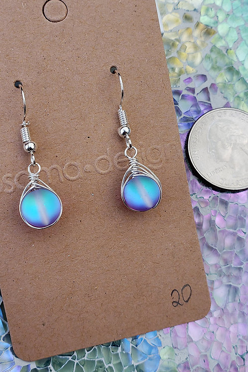 Purple and Aqua Mermaid Glass Wire Wrapped Earrings