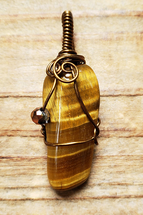 Tiger Eye Wire Wrapped Pendant