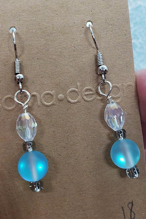 Aqua Mermaid Aura Faceted Bead Earrings
