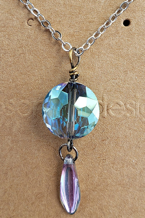 Iridescent Faceted Crystal Wire Wrapped Mini Pendant