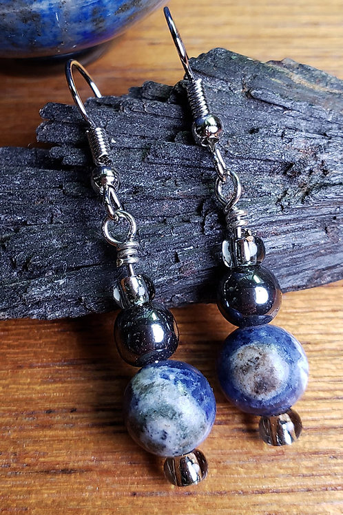 Lapis Lazuli & Hematite Earrings