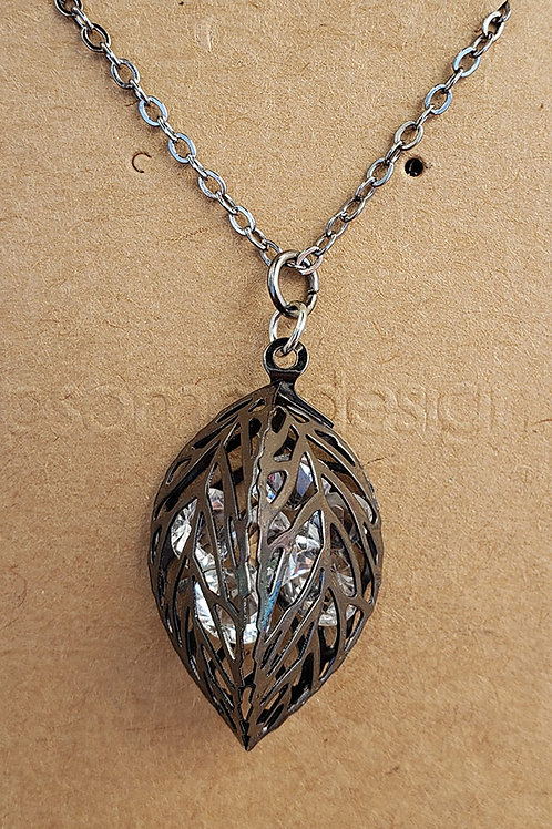 Leaf and Crystal Pendant