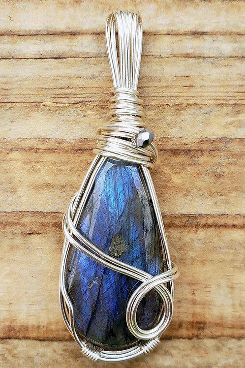 Periwinkle Blue Labradorite Wire Wrapped Pendant