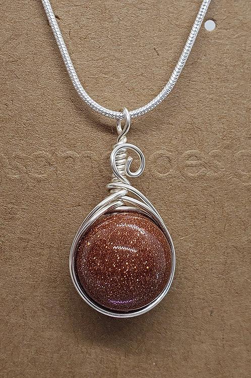 Goldstone Wire Wrapped Mini Pendant