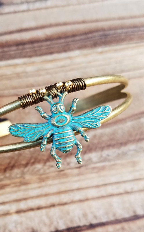 Patina Bee Wire Wrapped Bracelet | Psoma Design Group - Design, Fine ...