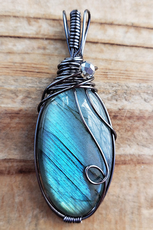 Teal Labradorite Wire Wrapped Pendant