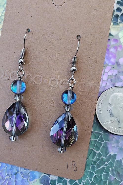 Faceted Crystal Teardrop Mermaid Glass Earrings