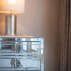 GLASS MIRROR BEDSIDE TABLE