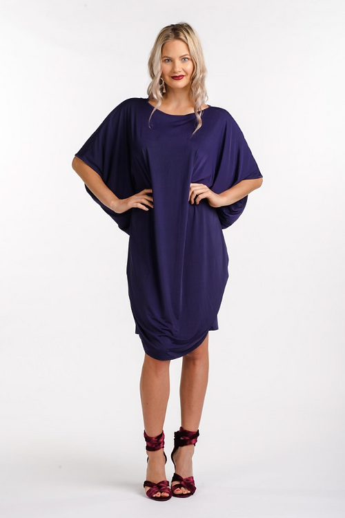 merrollee plus size womens clothing | evening miracle dress in navy
