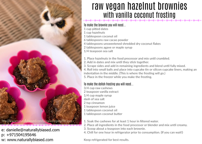Sweet Tooth and Recipe for Raw Vegan Hazelnut Brownies with Vanilla Coconut Frosting