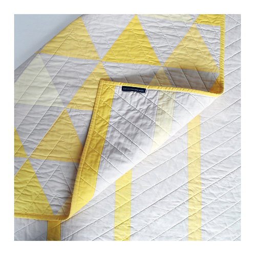 Equilateral Triangles Quilt - Yellow and Ivory - Lap or Large Crib Size