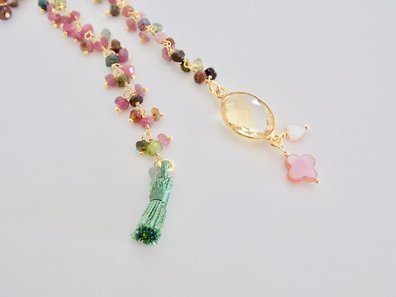 beaded chain green & pink