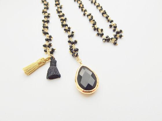 beaded chain black & gold