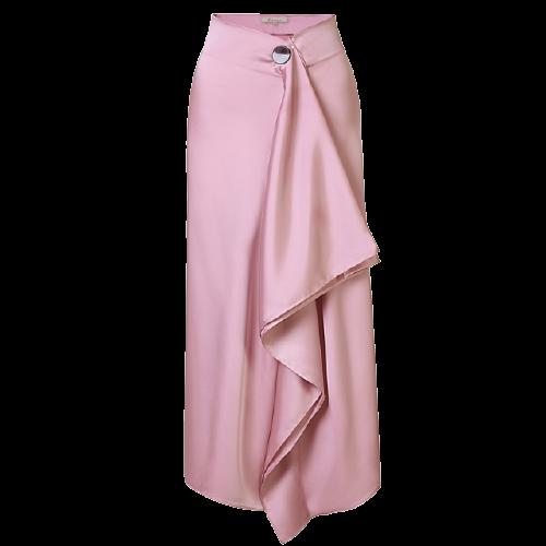 【AEL】サテン地ロングラップスカート