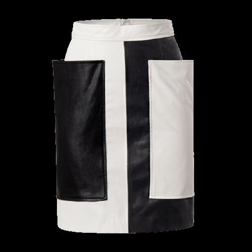 【SELECT】バイカラーエコレザースカート