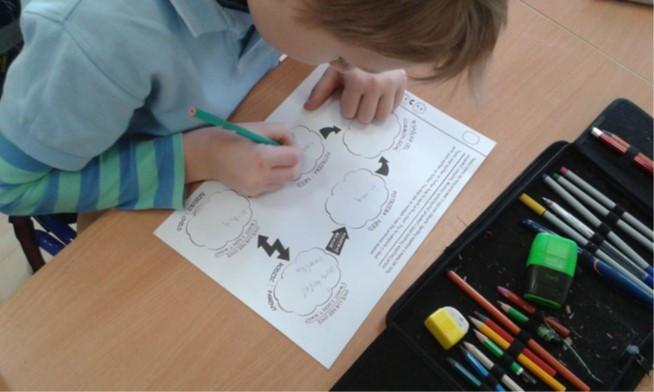 Kind beim logisch Denken Konflikt analysieren auf einem vorgedruckten Arbeitsblatt
