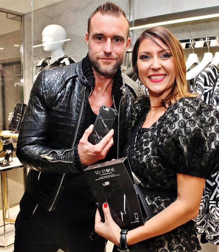 Philipp Plein and Alexandra Terzieva, showing his brand new SO STONE Black Marble Case