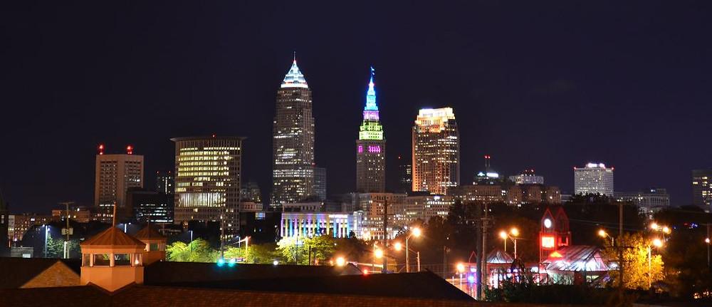 Desde nuestro hotel teníamos una vista excepcional del skyline de Cleveland