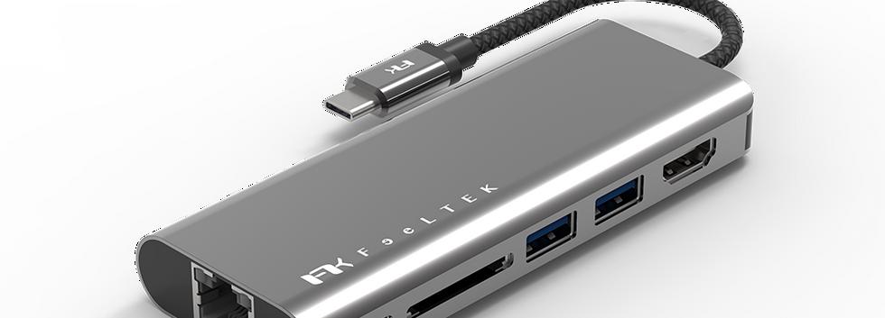 Portable 6-in-1 USB-C Hub