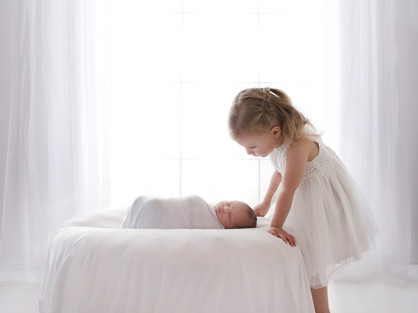 Natural Newborn Baby with Sister / Sibling Photos In White Studio - Photography Photoshoot Aldershot Hampshire - Family Pictures