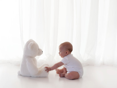 Baby and bear natural image picture photography photographer aldershot hampshire