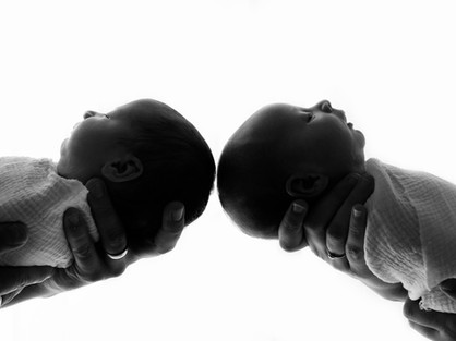 newborn twin babies black and white photos