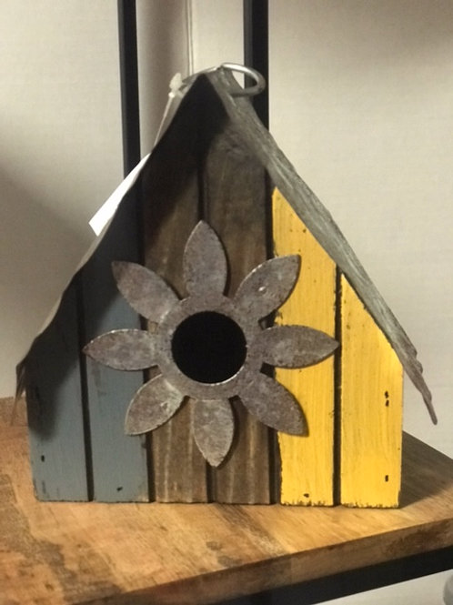 Tri-colored Wood and Tin Birdhouse