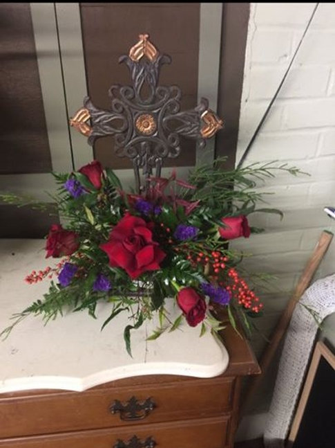Sympathy Cross with Fresh Floral