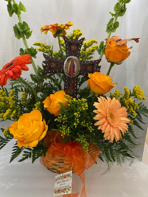 Floral Basket with Cross