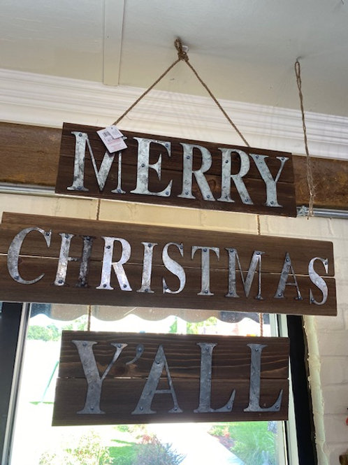 Wood and Tin Merry Christmas Y'all Sign 27 inches