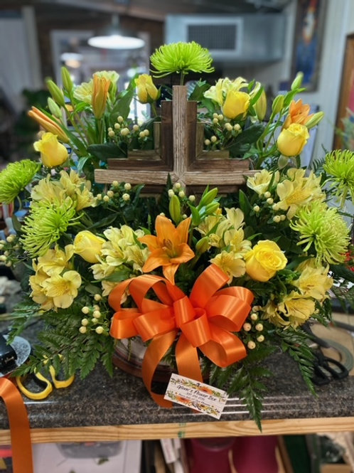 MIX FLORAL WITH KEEPSAKE CROSS