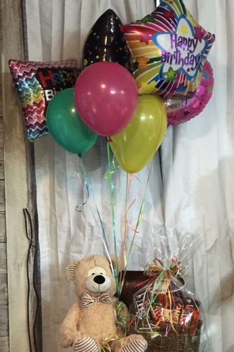 Candy Basket with Bear and Balloons