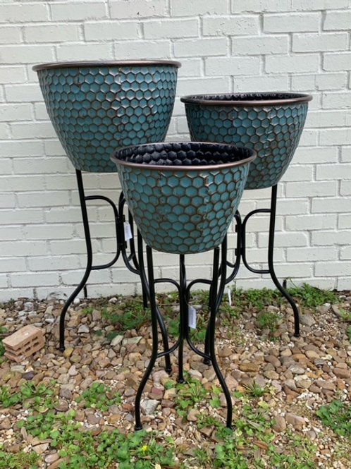 Hammered Planters on Stand