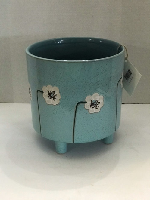 Blue Planter with White Flowers