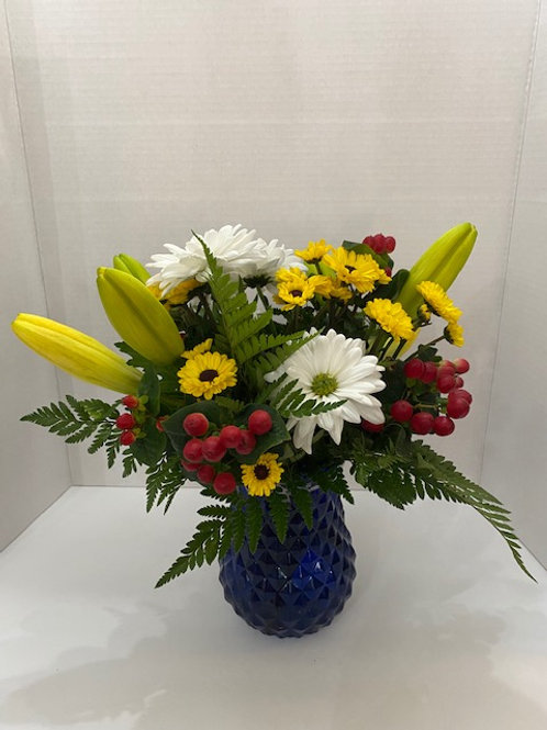 Mixed Flowers in Cobalt Blue Vase
