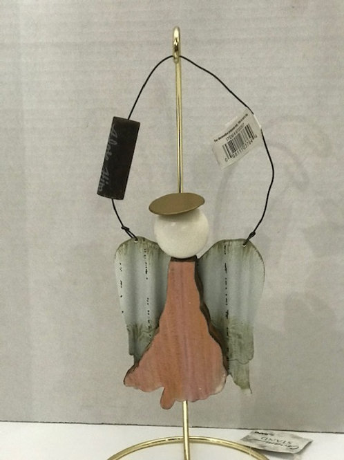 Wooden Angel with Tin Wings Ornament