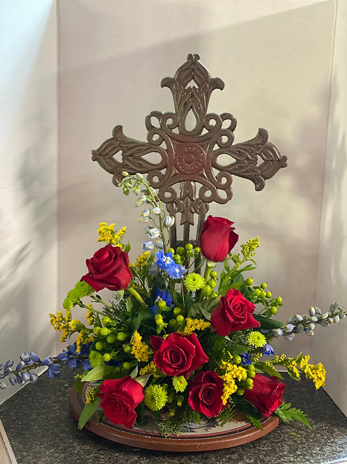 Deluxe Sympathy Cross with Fresh Floral