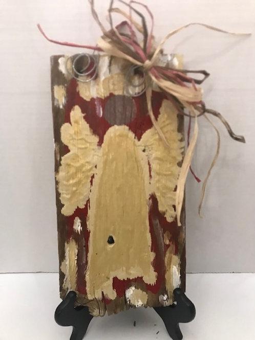 Purple Lemon Art Textured Angel on Wood