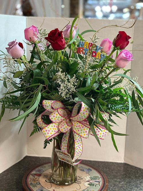 Birthday Roses, dozen mixed