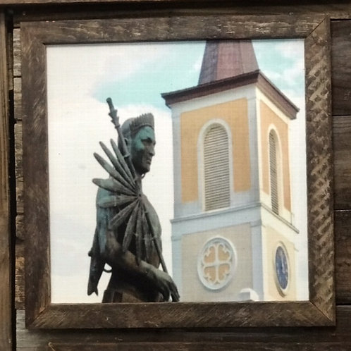 Saint Martin de Tours Church and Statue of Attakapas Native American
