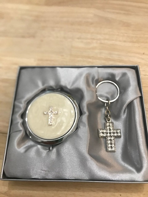 Cross Compact Mirror and Keychain Set
