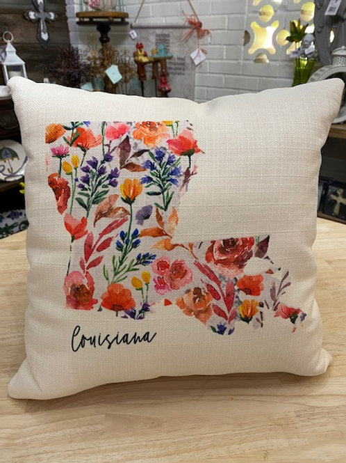 Louisiana State Flowered Pillow